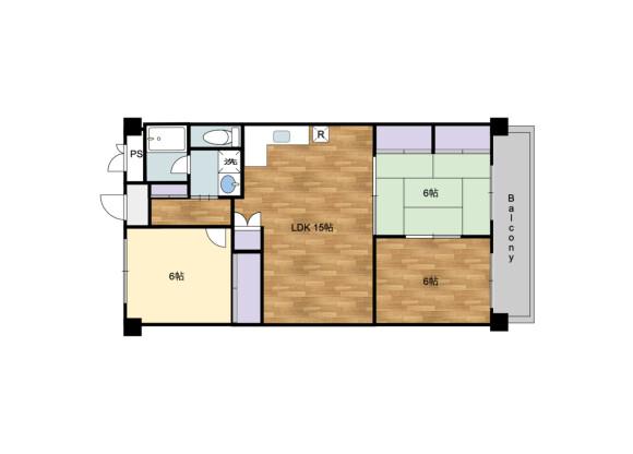 3LDK Apartment to Buy in Osaka-shi Kita-ku Floorplan