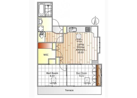 2SLDK Apartment to Rent in Setagaya-ku Floorplan