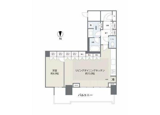1LDK Apartment to Buy in Koto-ku Floorplan