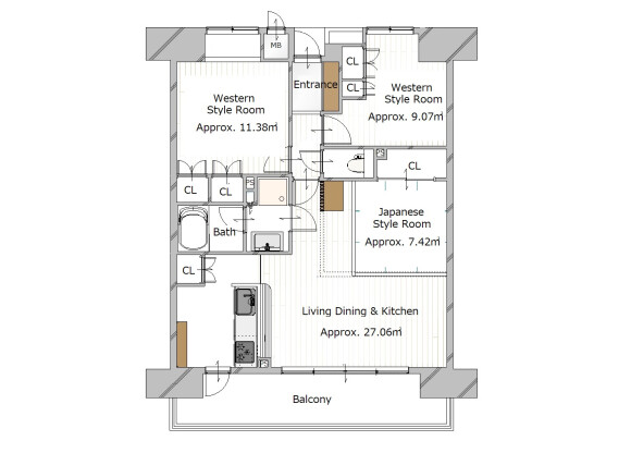 3LDK Apartment to Buy in Kyoto-shi Nakagyo-ku Floorplan