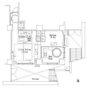 澀谷區恵比寿西-1LDK公寓 房間格局