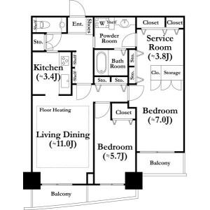 2SLDK Mansion in Kawadacho - Shinjuku-ku Floorplan