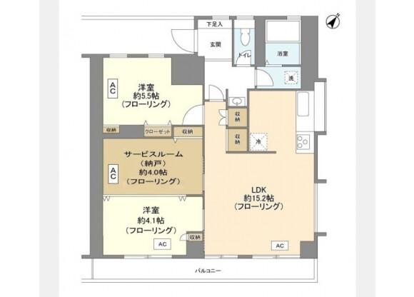 在涩谷区内租赁2SLDK 公寓大厦 的 楼层布局