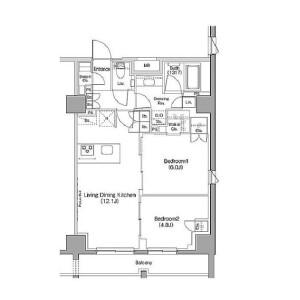 涩谷区恵比寿-2LDK公寓 楼层布局