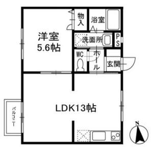 1LDK Apartment in Anagawa - Chiba-shi Inage-ku Floorplan