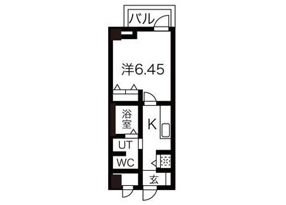 在大阪市東住吉区内租赁1K 公寓大厦 的 楼层布局