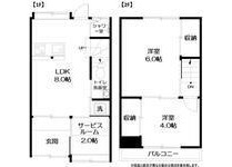2LDK House to Rent in Chuo-ku Floorplan