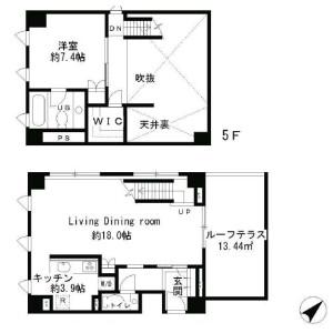 1LDK Apartment in Minamiaoyama - Minato-ku Floorplan