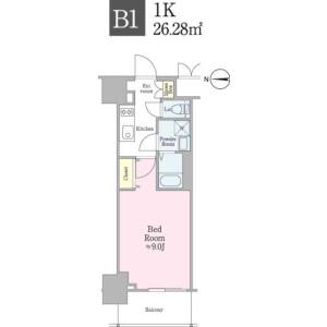 1K Apartment in Shinogawamachi - Shinjuku-ku Floorplan