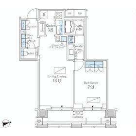 1LDK Apartment in Nishishimbashi - Minato-ku Floorplan