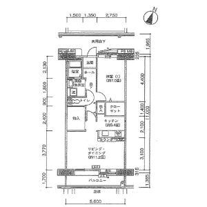 1LDK Apartment in Kamiosaki - Shinagawa-ku Floorplan