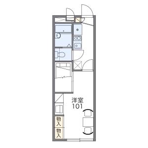 名古屋市天白区池場-1K公寓 楼层布局