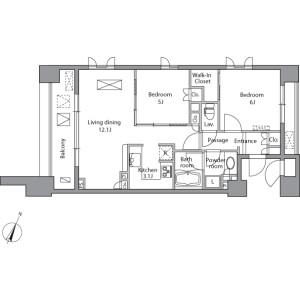 2LDK Mansion in Misakicho - Chiyoda-ku Floorplan