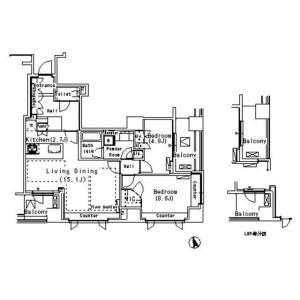 2LDK Mansion in Ebisunishi - Shibuya-ku Floorplan