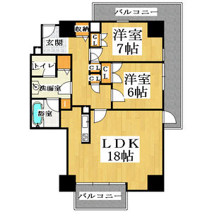 2LDK Mansion in Jusohigashi - Osaka-shi Yodogawa-ku Floorplan