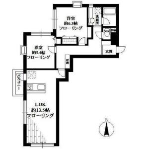2LDK Mansion in Jiyugaoka - Meguro-ku Floorplan