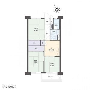 3K Apartment in Ichinotsubo - Kawasaki-shi Nakahara-ku Floorplan