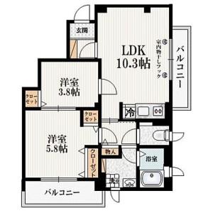 文京区 小石川 2LDK マンション 間取り