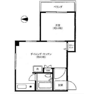1DK Apartment in Motoazabu - Minato-ku Floorplan