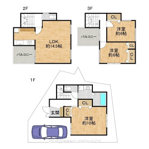 3LDK {building type} in Tezukayama - Osaka-shi Abeno-ku Floorplan