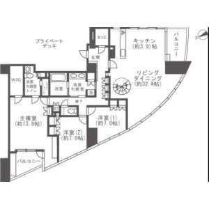 涩谷区恵比寿-3LDK公寓大厦 楼层布局