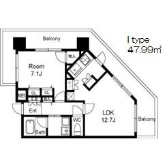 1LDK Mansion in Fukushima - Osaka-shi Fukushima-ku Floorplan