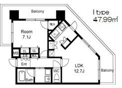在大阪市福島区内租赁1LDK 公寓大厦 的 楼层布局