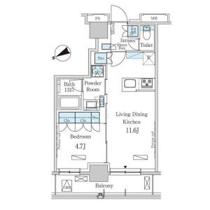 1LDK Mansion in Nihombashikayabacho - Chuo-ku Floorplan