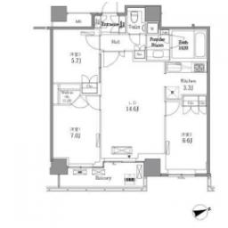 2LDK Mansion in Nishigotanda - Shinagawa-ku Floorplan