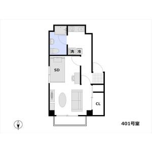 1DK Apartment in Nishiazabu - Minato-ku Floorplan
