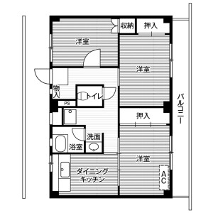 3DK Mansion in Mukaeda - Ichihara-shi Floorplan