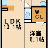 1LDK Apartment to Rent in Kawasaki-shi Miyamae-ku Floorplan