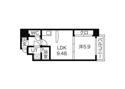 1LDK マンション 名古屋市中区 間取り