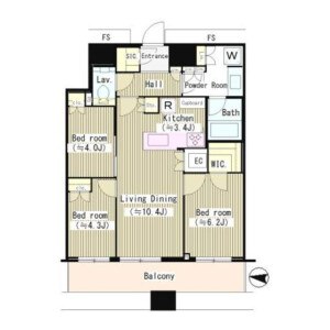 3LDK Mansion in Kachidoki - Chuo-ku Floorplan