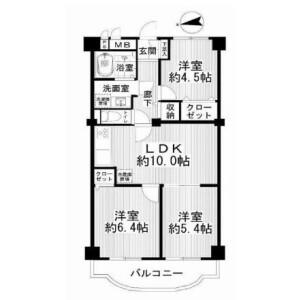 3LDK Apartment in Omorihoncho - Ota-ku Floorplan