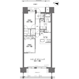 2LDK {building type} in Toyosaki - Tomigusuku-shi Floorplan