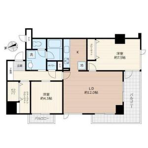 2LDK Mansion in Ichibancho - Chiyoda-ku Floorplan