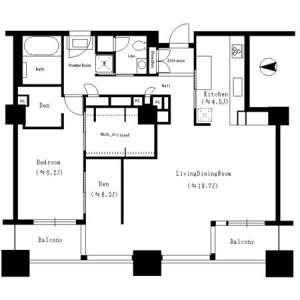 1SLDK Mansion in Tsukuda - Chuo-ku Floorplan