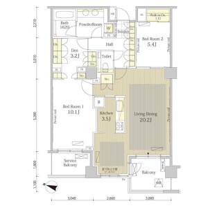 澀谷區恵比寿-2SLDK公寓大廈 房間格局