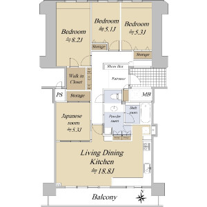 4LDK {building type} in Shimmachi - Osaka-shi Nishi-ku Floorplan