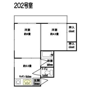 2DK Apartment in Okubo - Shinjuku-ku Floorplan