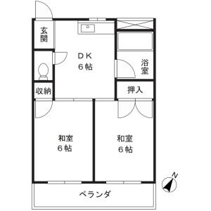 2DK Mansion in Shibokuchi - Kawasaki-shi Takatsu-ku Floorplan