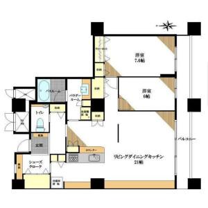 2LDK Apartment in Hyakunincho - Shinjuku-ku Floorplan