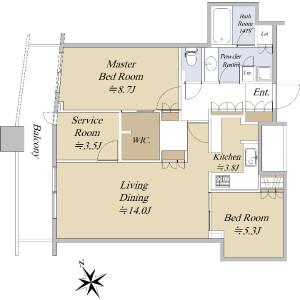 2SLDK {building type} in Nishishinjuku - Shinjuku-ku Floorplan