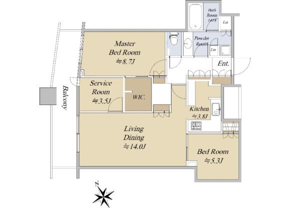 2SLDK Apartment to Buy in Shinjuku-ku Floorplan