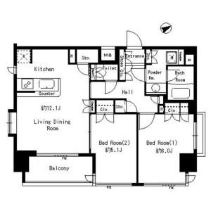 2LDK Mansion in Kuramae - Taito-ku Floorplan