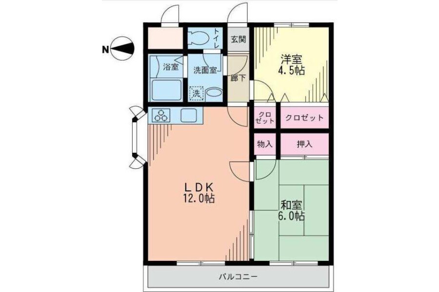 2LDK Apartment to Rent in Sagamihara-shi Minami-ku Floorplan