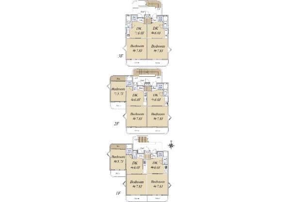 在名古屋市名東区购买整栋 公寓大厦的 楼层布局