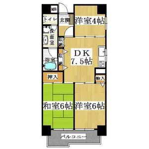 3DK Mansion in Shikitsunishi - Osaka-shi Naniwa-ku Floorplan