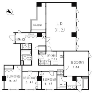 4LDK Apartment in Hiroo - Shibuya-ku Floorplan